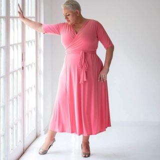 Last of the Best Sellers! Pink Maxi Wrap Dress Available in Size 18, 20, 22 & 24. www.bodypositive.co.za #BodyPositiveZa #SizeAwesome
